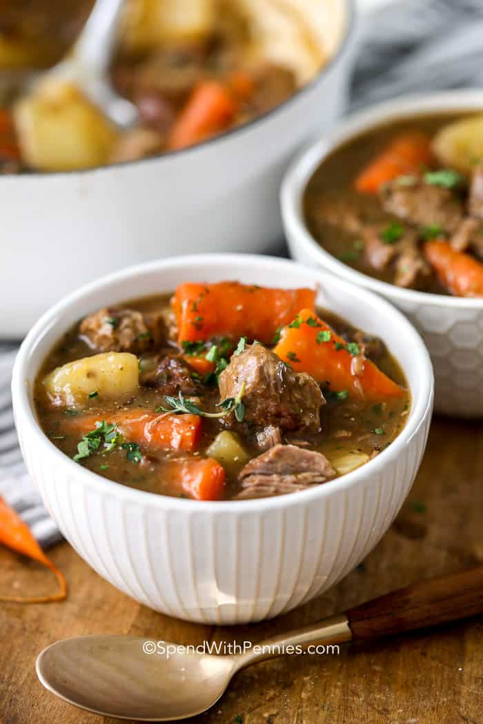 Bowls of Lamb (Irish Stew) with potatoes and carrots.