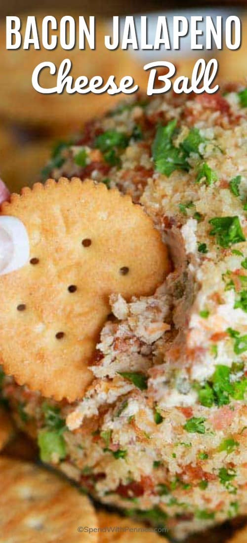 Bacon Jalapeno Cheeseball with title