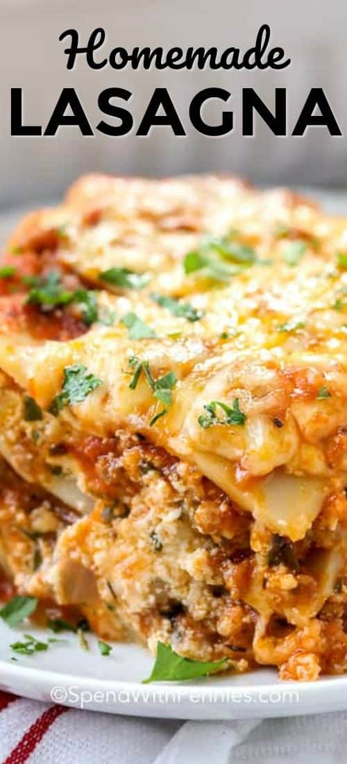 Easy Homemade Lasagna with title
