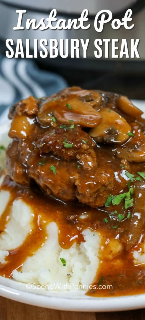 Instant Pot salisbury steak is comfort food heaven. It is perfect over mashed potatoes, topped with mushroom gravy! #spendwithpennies #instantpot #instantpotsalisburysteak #steak #salisburysteak #instantpotdinner #mushroomsalisburysteak #mushroomgravy