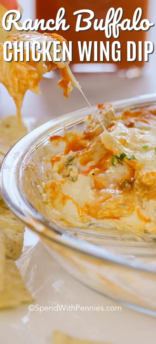 Buffalo Chicken Cheesy Dip is the perfect party dip that everyone will rave about! Easy, cheesy and loaded with flavor. #spendwithpennies #buffalochicken #buffalochickendip #cheesedip #gamedayrecipe #appetizer #diprecipe