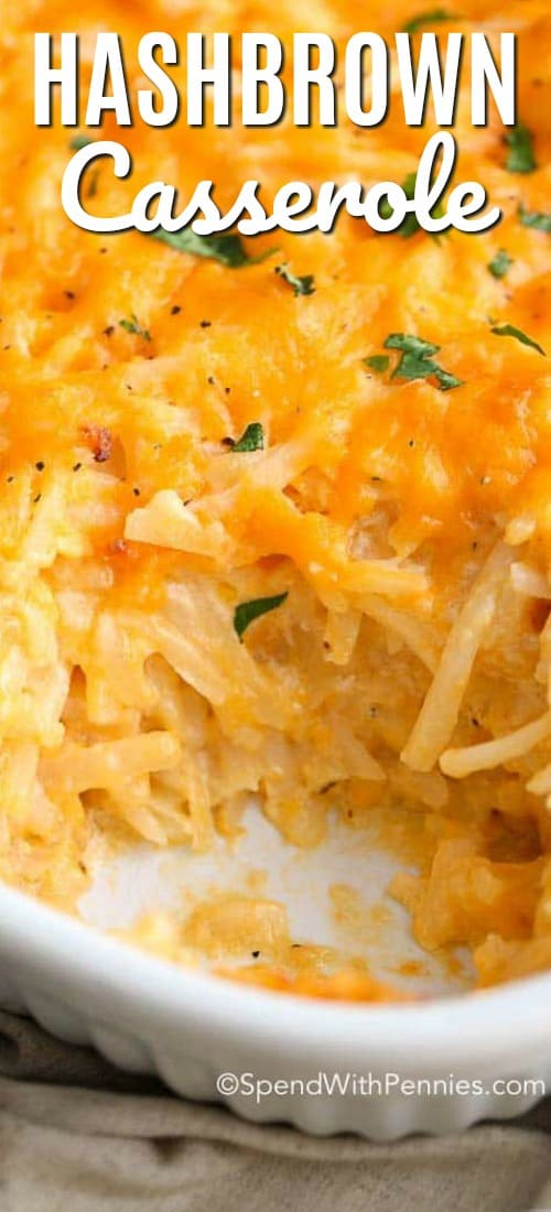 close up of hashbrown casserole with a scoop missing.