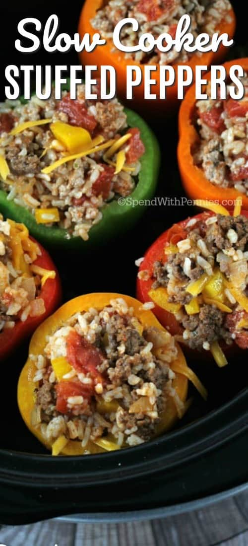 Crock Pot Stuffed Peppers are not only delicious but so easy to put together! Come home to dinner waiting for you with these easy Crock Pot Stuffed Peppers! #spendwithpennies #easyrecipe #maincourse #stuffedpeppers #crockpot #slowcooker #easydinner