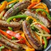 Sausage and Peppers in pan