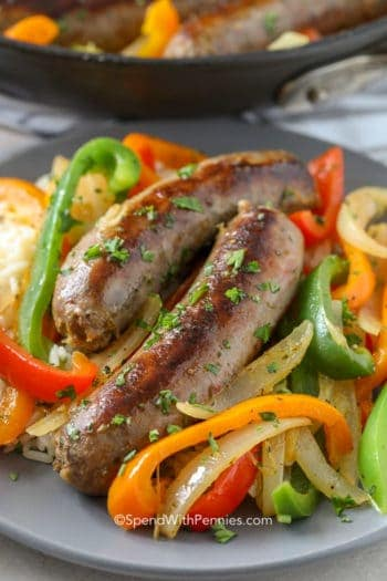Sausage and Peppers on a gray plate