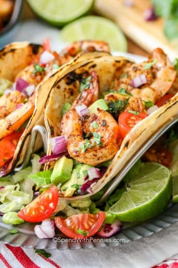 Shrimp Tacos with lime