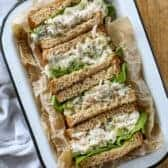 Tuna Salad sandwiches in a tray
