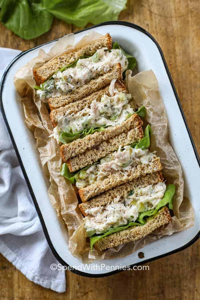 Tuna Salad sandwiches in a tray