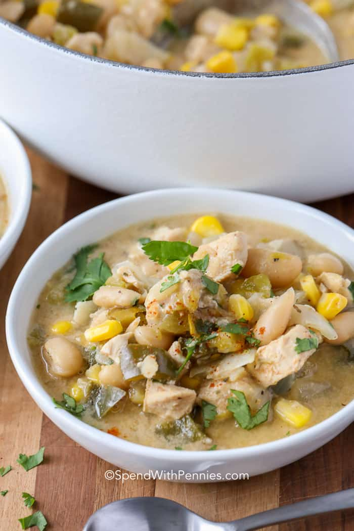 A serving of White Chicken Chili with a spoon