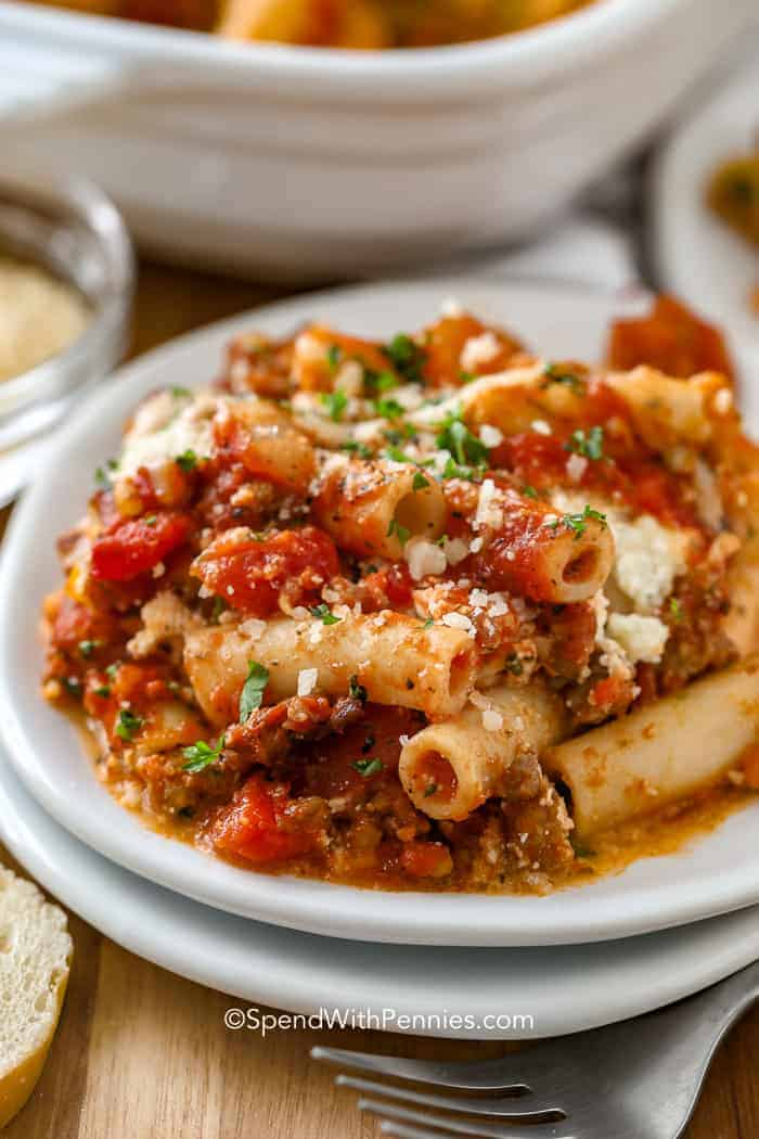 Baked Ziti with Ricotta Cheese on a plate