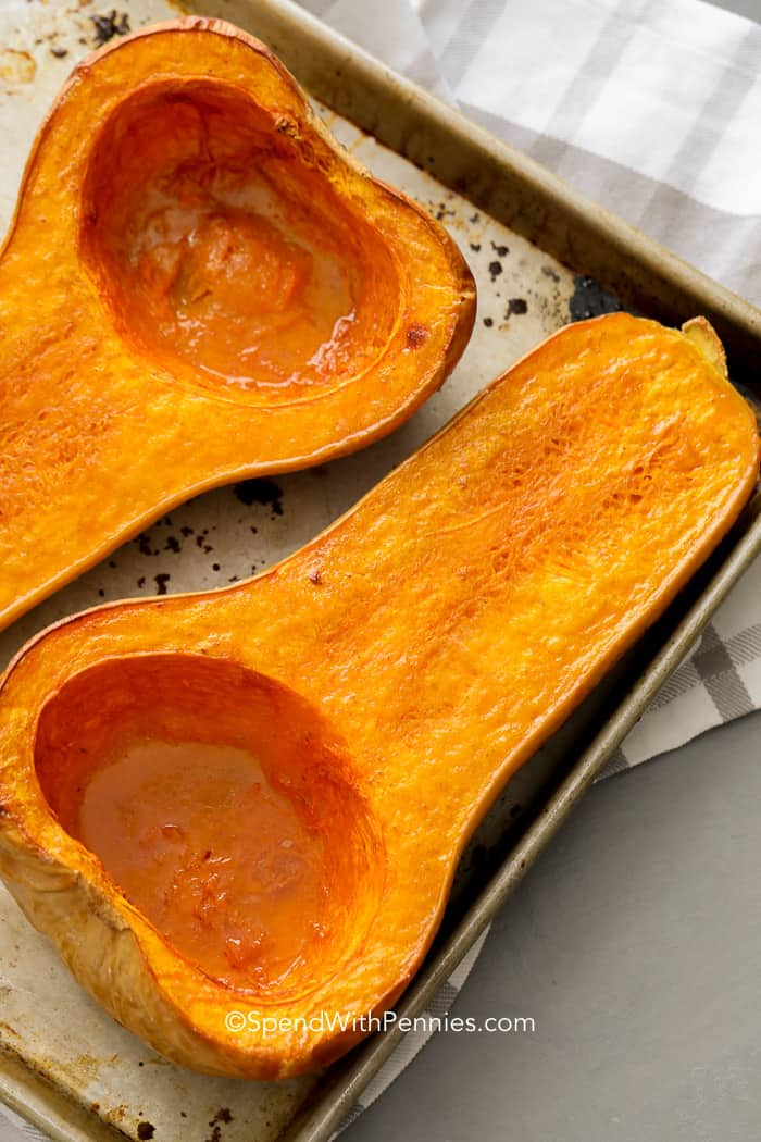 Baked Butternut Squash on a sheet pan ready to serve