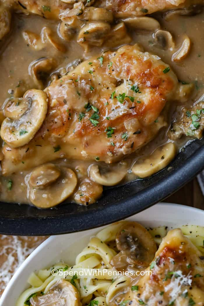 closeup of a pan of chicken marsala with mushrooms and marsala sauce, and a plate of chicken marsala on pasta