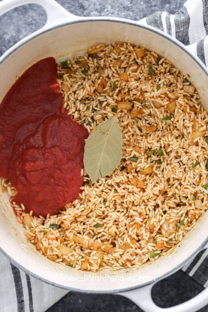 Rice ingredients in a pot