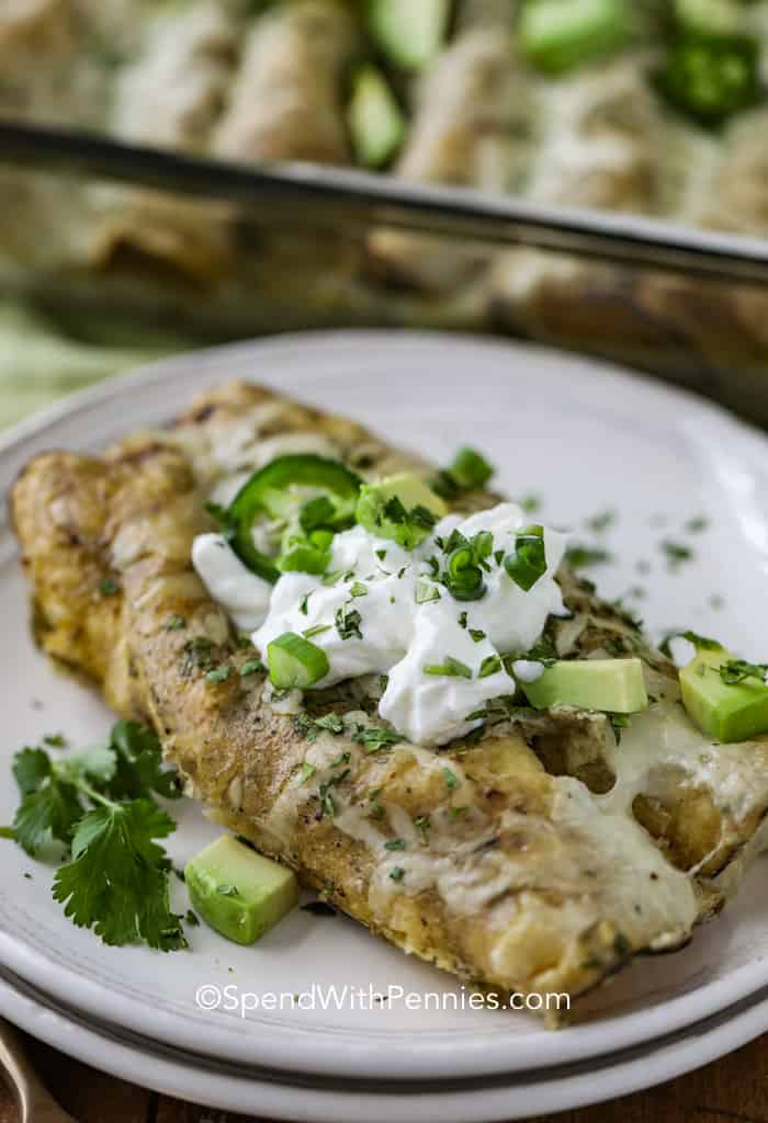 Creamy chicken enchiladas with a green chile sour cream enchilada sauce on a plate topped with jalapeno, sour cream, and avocado.