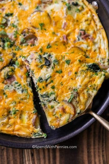 Ham and Spinach Frittata baked and served