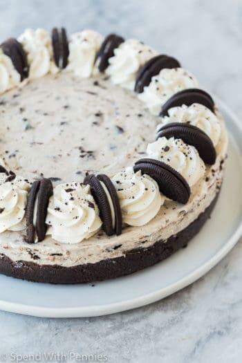 no bake oreo cheesecake whole on a white plate