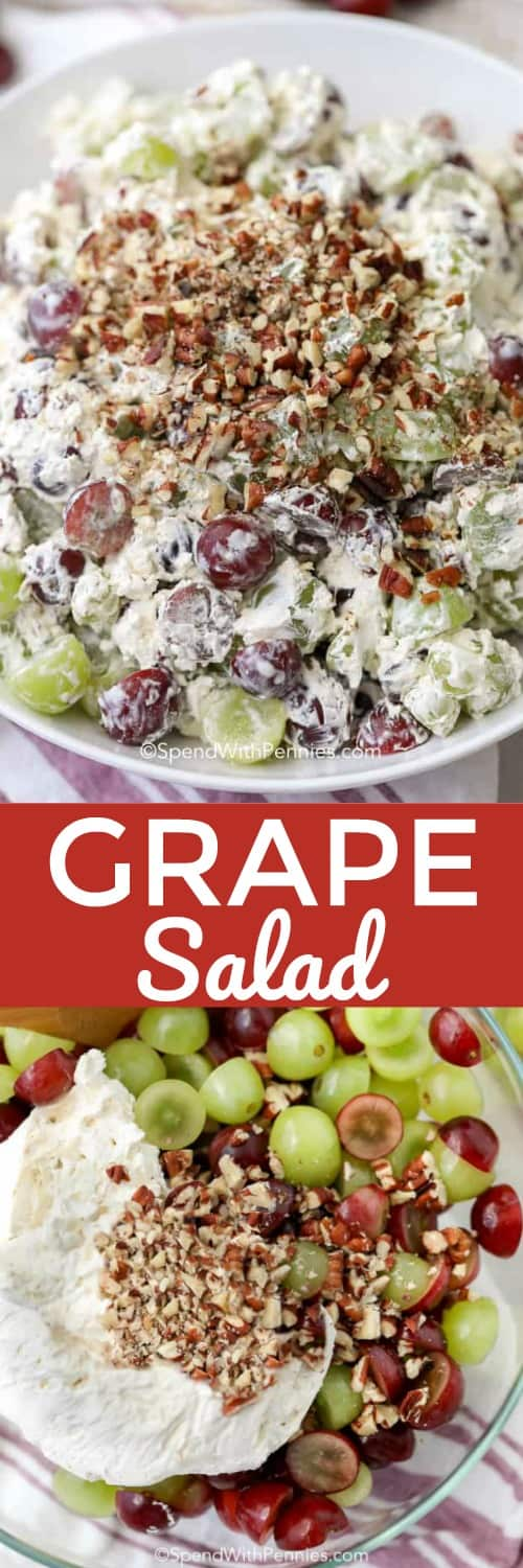 This easy grape salad recipe is seriously creamy and delicious. It's a great side dish or dessert that everyone loves! #spendwithpennies #grapesalad #salad #grapes #graperecipes #easygrapesalad