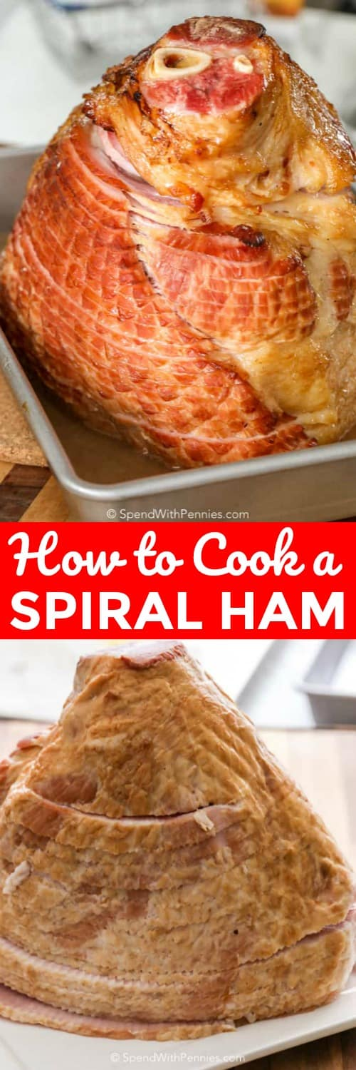 If you've ever made a spiral ham, you will know how delicious this ham recipe is. We love serving baked spiral ham during Easter! #spendwithpennies #ham #spiralham #easter #easterham #howtobakeham #hamrecipe