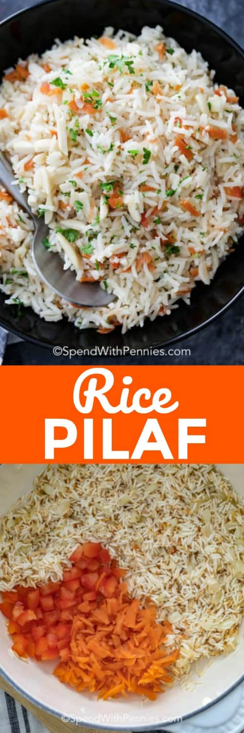 This easy rice pilaf recipe makes a delicious rice side dish that everyone loves. It's so much better than regular steamed rice! #spendwithpennies #rice #ricerecipe #ricepilaf #pilaf #ricesidedish #sidedish #ricepilafrecipe