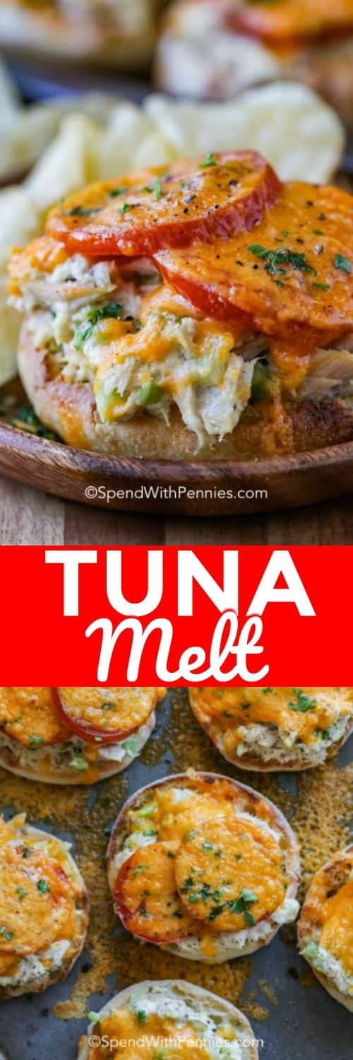 The top photo is a close up of a tuna melt with cheese melted over the tuna mixture and tomatoes. The bottom photo is a top view of many tuna malts on a baking sheet.