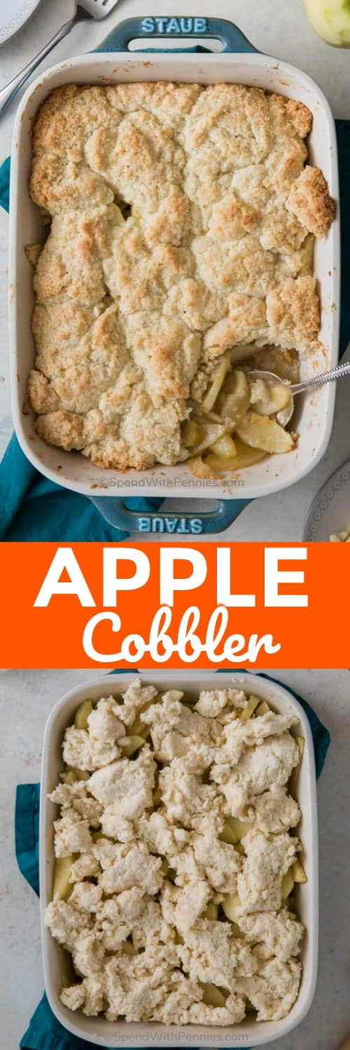 This homemade Apple Cobbler is so easy to make! Begin with tart apples, cinnamon and sugar, then finish with a buttery sweet biscuit-like topping to make a simple and delicious cobbler everyone will rave about. #applecobbler #spendwithpennies #cobblerrecipe #summerbaking #dessert #easydessert #cobblerdessert #fruitcobbler