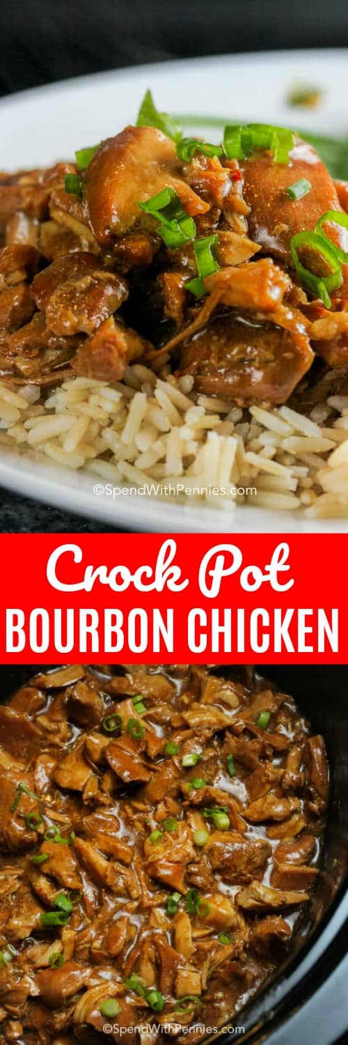 This easy Crock Pot bourbon chicken couldn't be more flavorful. We love serving bourbon street chicken over rice, or in sandwiches! #spendwithpennies #bourbon #bourbonchicken #chicken #crockpotbourbonchicken #bourbonchickenrecipe #slowcookerbourbonchicken
