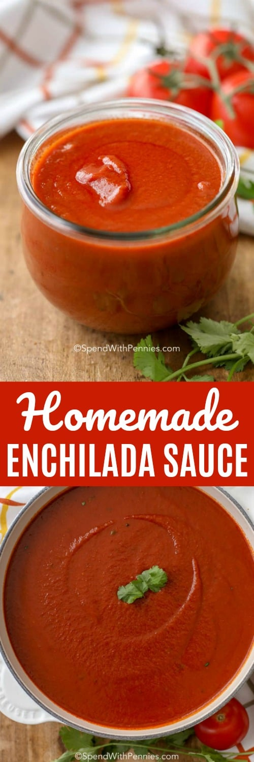 This homemade enchilada sauce is an easy homemade sauce that's perfect on chicken enchiladas, tacos, burritos, or any other dish you can think of! #spendwithpennies #enchiladas #enchilada #enchiladasauce #tacosauce #mexicansauce