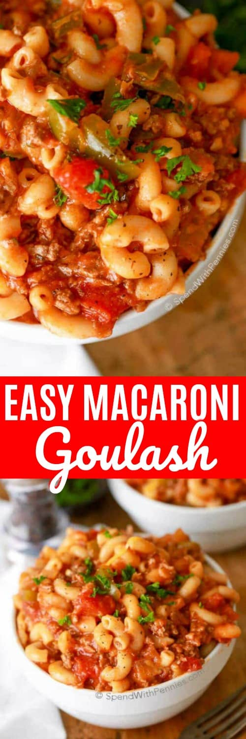 This easy goulash recipe is full of flavor! Tender macaroni noodles are cooked in a beef and tomato sauce. We sometimes add a bit of cheese to create the perfect meal! #spendwithpennies #goulash #americanchopsuey #macaroni #skilletmeal #onepan #meatsauce #tomatosauce
