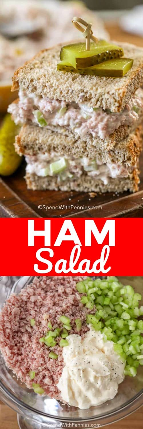 Ham Salad in a bowl and in a sandwich shown with a title