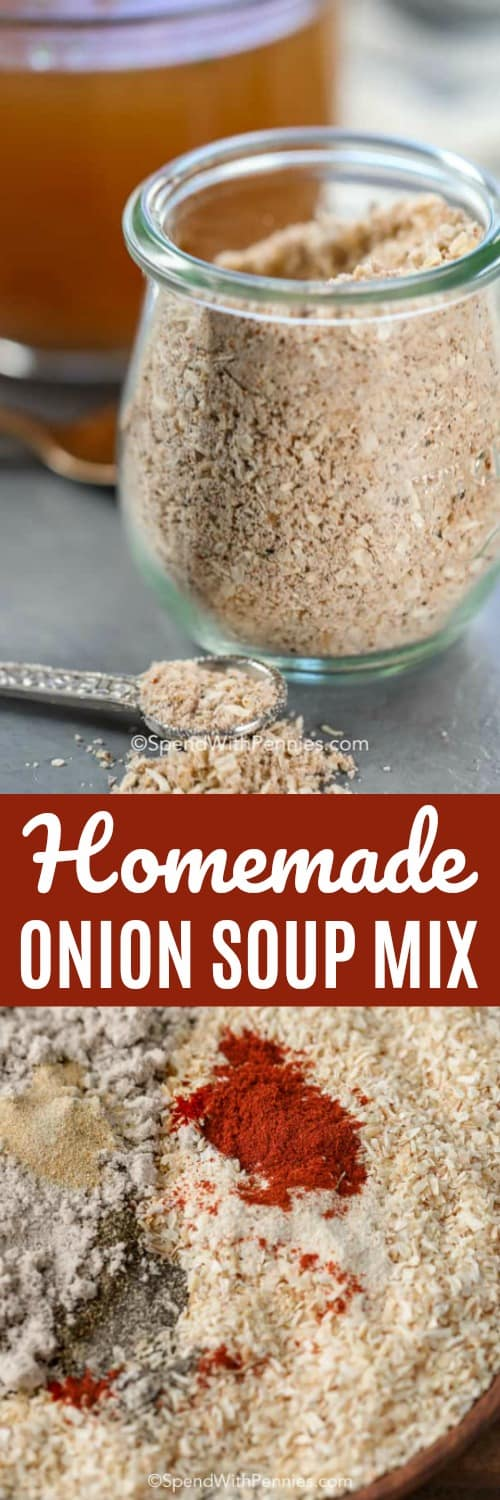 This easy homemade onion soup mix recipe is seriously good. We love having this on hand to add to recipes like onion dip and french onion soup! #spendwithpennies #onionsoup #onionsoupmix #homemadeonionsoupmix #onionsouprecipe