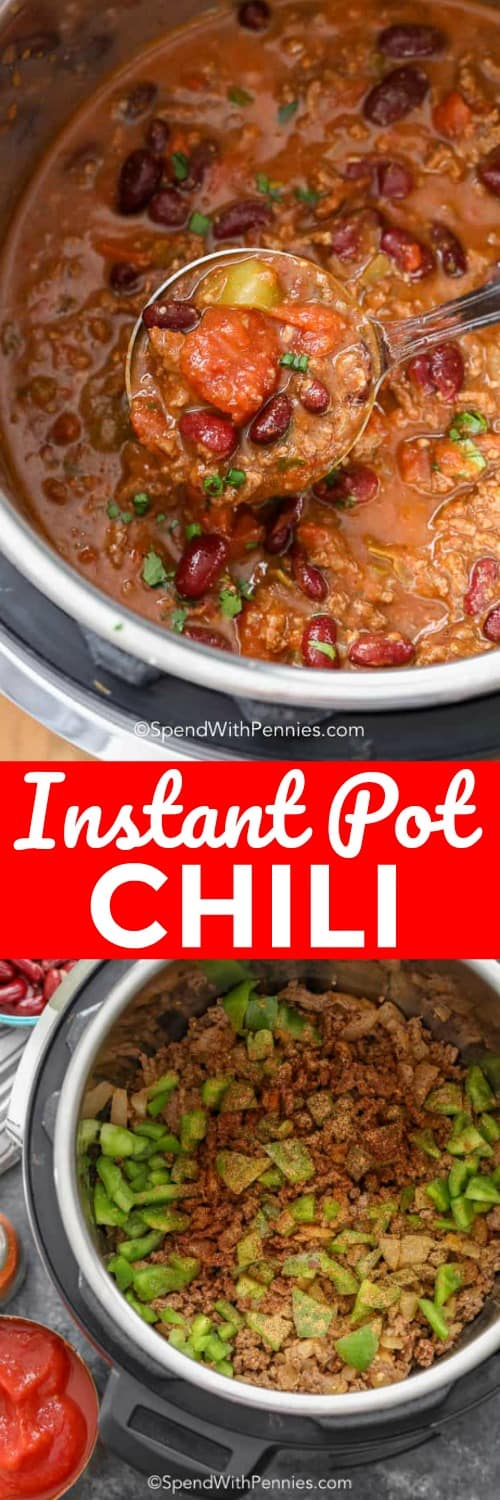 Top photo - Chili being served from an Instant Pot. Bottom photo - Ingredients to make Instant Pot Chili assembled in the bottom of an Instant Pot.