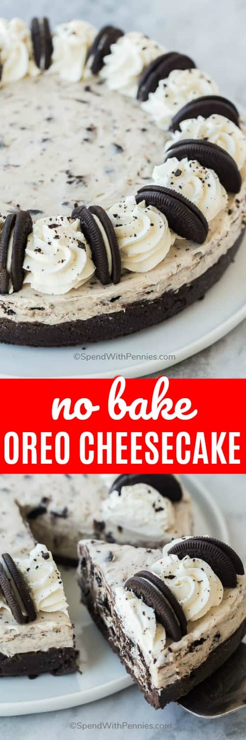 This No Bake Oreo Cheesecake is light, fluffy and creamy and loaded with Oreo chunks! Made with no oven and just a handful of ingredients! #spendwithpennies #dessertrecipe #nobakedessert #nobakecheesecake #oreocheesecake #withoreos #easycheesecake #oreocookies