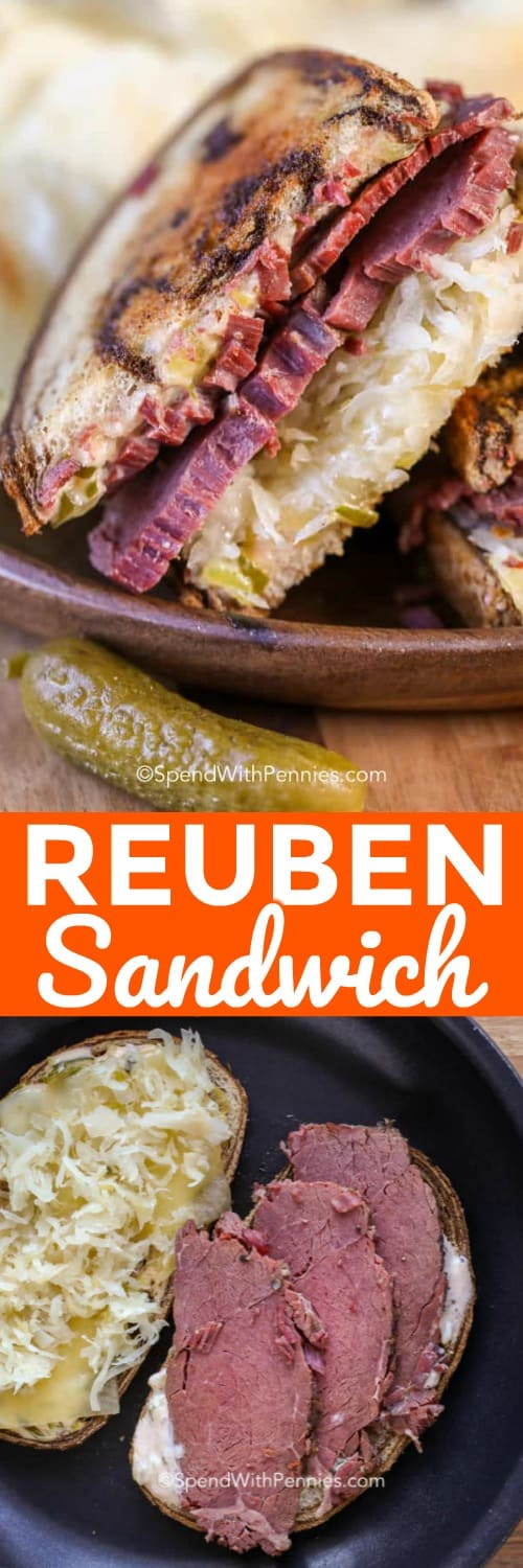Reuben Sandwich with pickles shown with writing