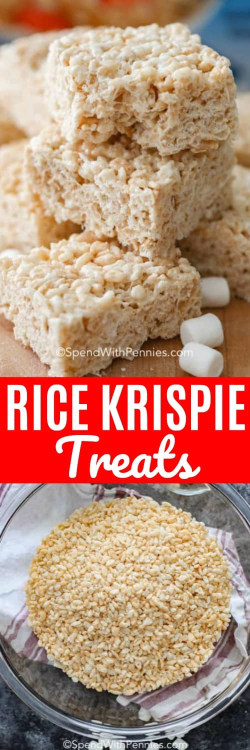 These homemade rice krispie treats couldn't be easier or more delicious. They're great for bake sales and an easy rice krispie treat recipe that kids love! #spendwithpennies #ricekrispies #ricekrispietreats #homemadericekrispietreats #ricekrispie #ricekrispiesrecipe