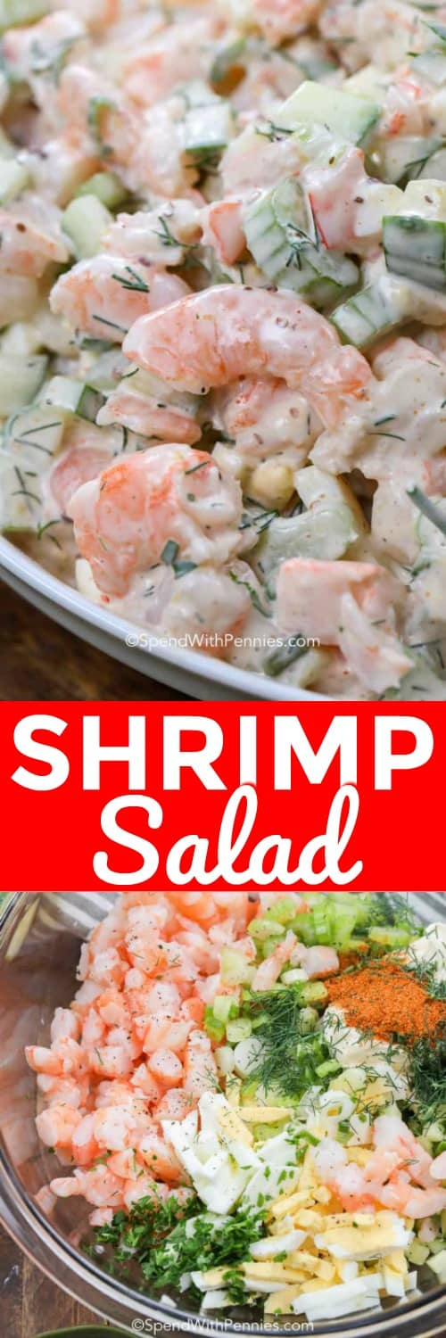 shrimp salad mixed and ingredients with a title