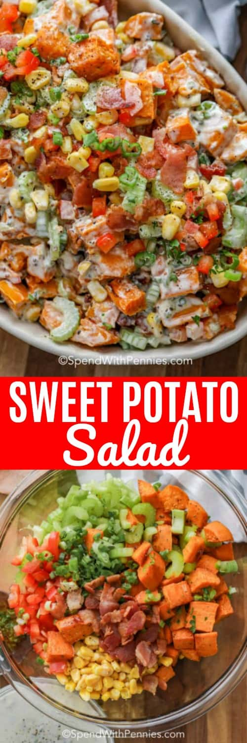 Roasted sweet potato salad is the perfect potluck dish. Tender sweet potatoes, loads of crisp veggies and smoky bacon all tossed in an easy homemade potato salad dressing. #spendwithpennies #sidedish #sweetpotatoes #potatosalad #sweetpotatosalad #potluckrecipe #saladrecipe #makeahead