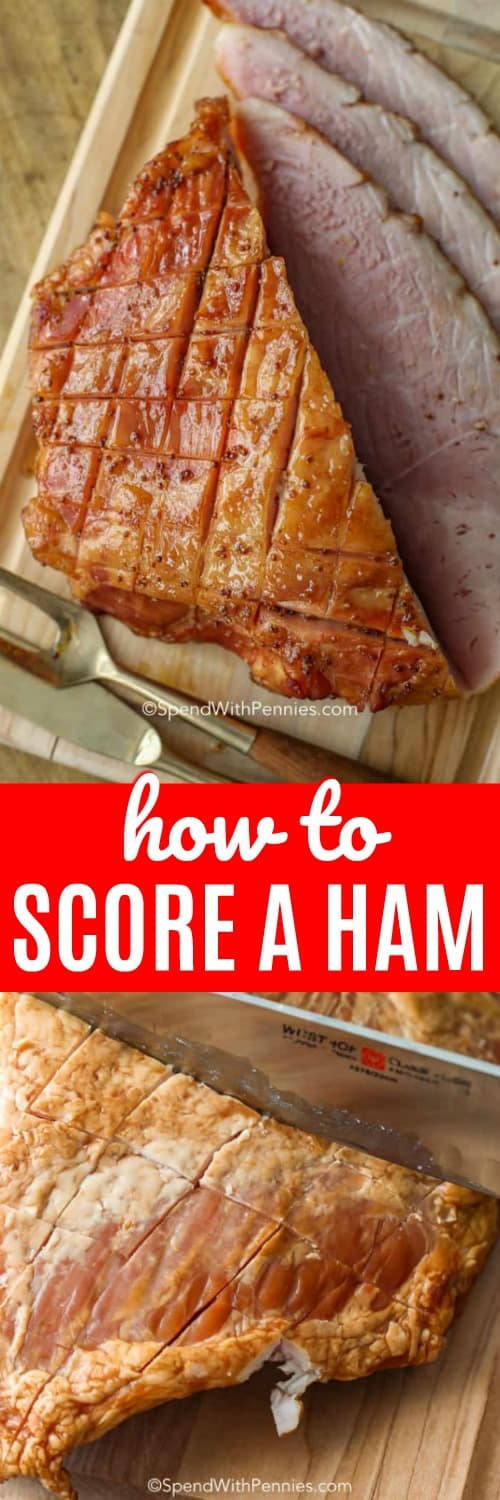 a ham scored and baked and sliced with a title