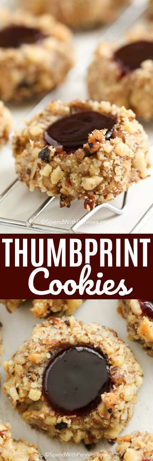 Thumbprint cookies on a cookie sheet with a title