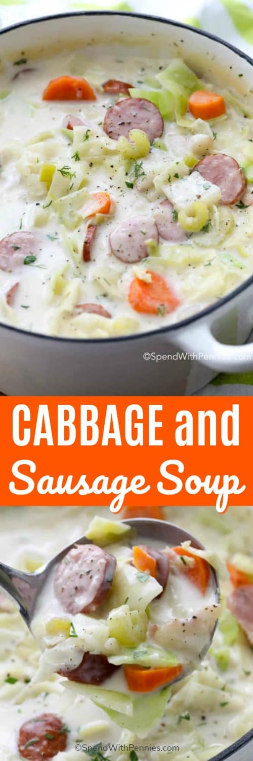 Cabbage and sausage soup in a pot and in a ladle with a title