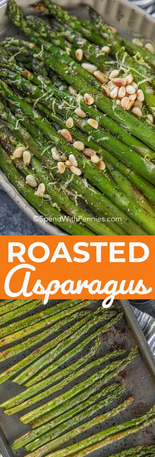 Tender spears of oven roasted asparagus are going to become your go-to side dish recipe! Just handful of simple ingredients and a few minutes of prep are all you need. #spendwithpennies #asparagusrecipe #roastedasparagus #roastedvegetables #ovenroasted #sidedishrecipe #easyrecipe