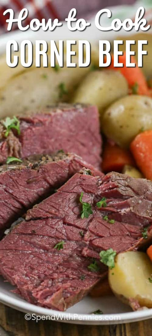 Corned beef is a delicious meal that is made extra easy by slow simmering it in a stock pot. Just add a side dish like mashed potatoes for the perfect easy dinner recipe!#spendwithpennies #cornedbeef #cornedbeefandcabbage #beef #cornedbeefrecipe #easycornedbeef