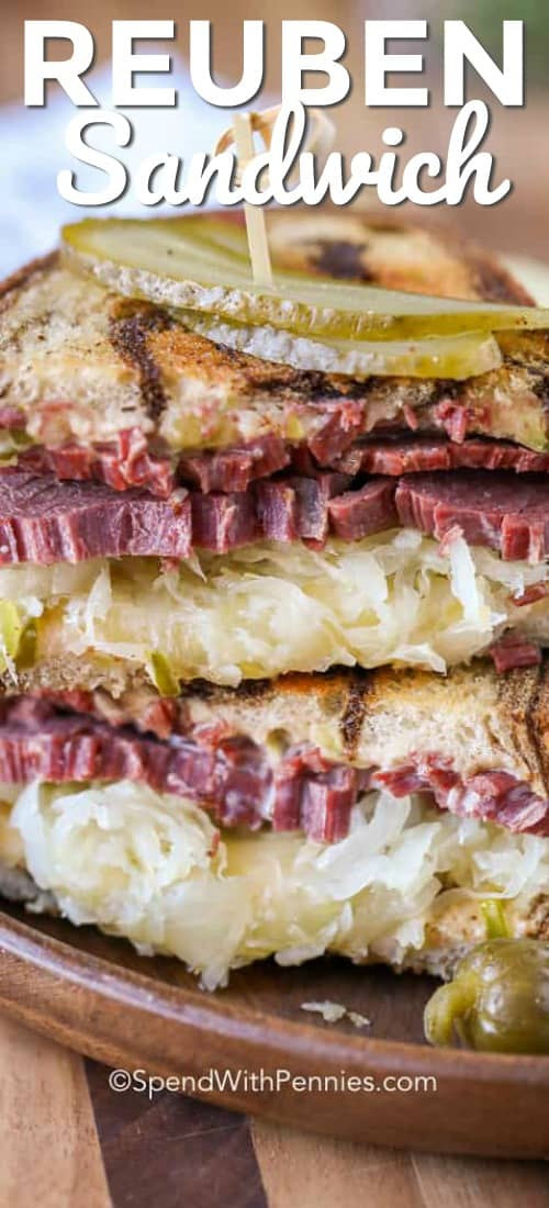 Reuben Sandwich with pickles shown with a title