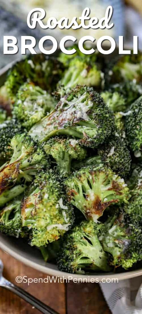 This oven roasted broccoli is an easy side dish recipe that everyone loves. It's healthy, and goes with many main dishes! #spendwithpennies #broccoli #roastedbroccoli #roastbroccoli #easybroccoli #broccolirecipes
