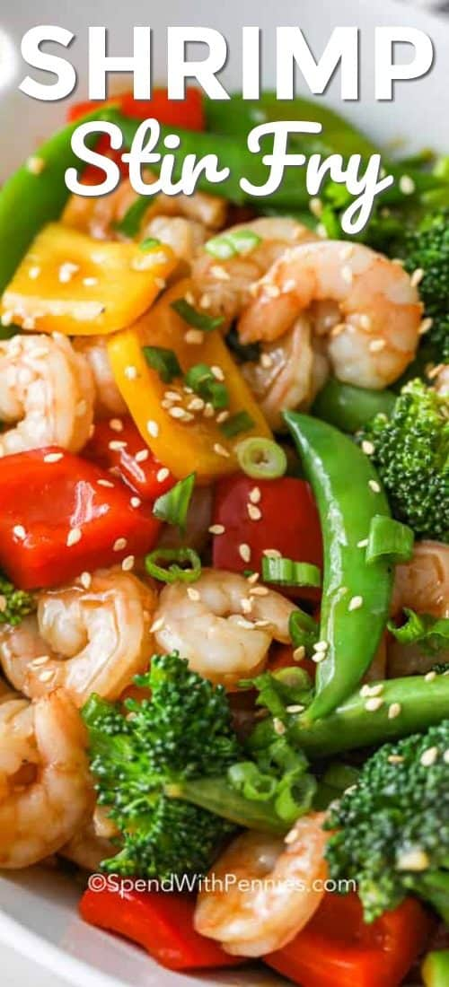 Shrimp stir fry in a bowl with sesame seeds and green onions with writing