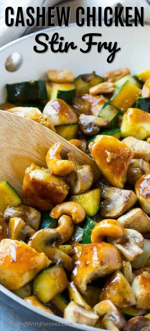 This cashew chicken stir fry is full of sauteed chicken, veggies and crunchy cashews, all coated in a simple savory sauce. No need to order take out when you can make your own at home! #spendwithpennies #stirfry #stirfryrecipe #cashewchicken