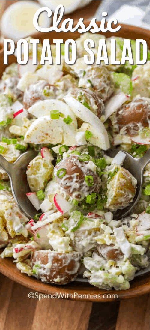 This easy classic potato salad recipe is simple, delicious, and always a hit. We love making this homemade potato salad recipe for barbecues! #spendwithpennies #potatosalad #potatoes #potato #salad #sidedish #side