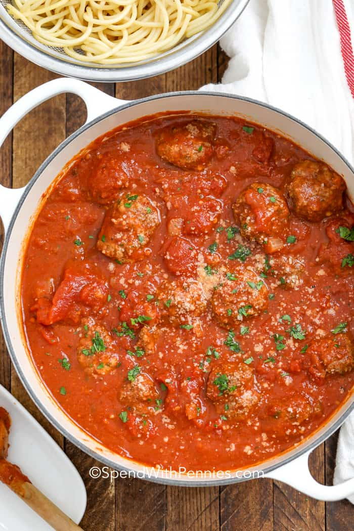 A pot of homemade spaghetti and meatballs ready to serve