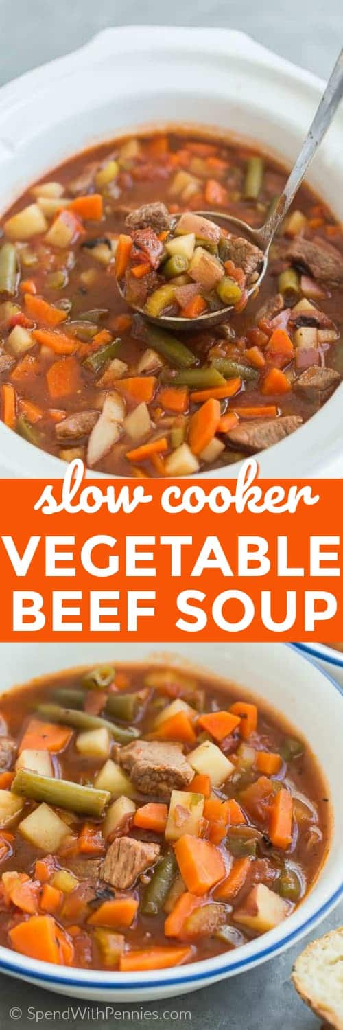 This slow cooker Vegetable Beef Soup is a hearty, healthy meal loaded with protein and vegetables. Made with chunks of beef and all of your favorite veggies! #spendwithpennies #soup #slowcooker #crockpot #beef #easysouprecipe #easydinner #weeknightmeal #healthyrecipe #vegetablesouprecipe #withvegetables #easylunch