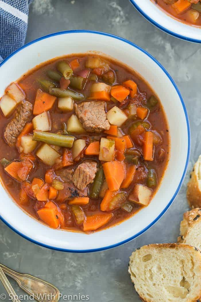 overhead vegetable beef soup