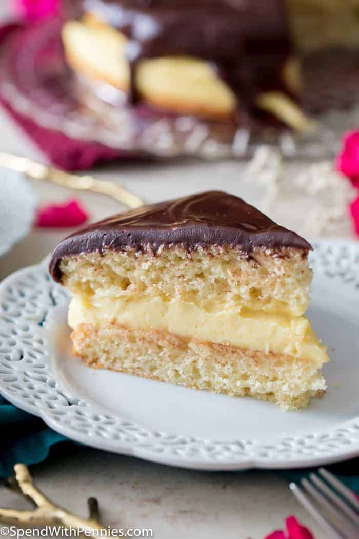 Slice of Boston Cream Pie on white plate